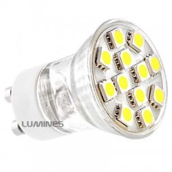 GU11 LED HALOGEN(MAX) 230V 1,9W 135LM 12LED SMD 5050 B.CIEPŁY 3000K 140° IP20