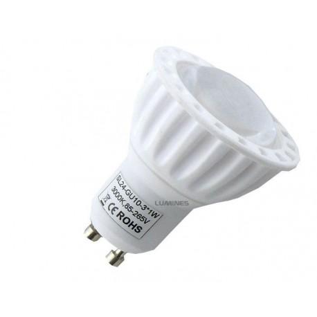 GU10 LED(LT) HALOGEN 3W 300LM 3x1W HP LED B.CIEPŁY 3000K 45° IP40 DO ŚCIEMNIACZY