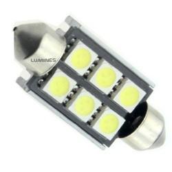 ŻARÓWKA SAMOCHODOWA LED CV8.5 36mm C5W,C10W 6LED SMD 5050 B.ZIMNY FESTOON LIGHT