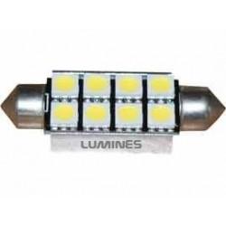 ŻARÓWKA SAMOCHODOWY LED (LL) CV8.5 42mm C5W,C10W 8LED SMD 5050 B.ZIMNY FESTOON LIGHT