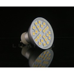 GU10 LED(LIN-EL) HALOGEN 4,5W 400LM 24LED SMD 5050 B.CIEPŁY 3000K 120° IP40