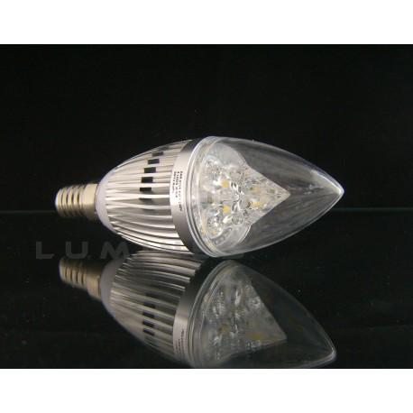 E14 LED CANDLE 4W 400LM 4x1W HP LED BIAŁY CIEPŁY